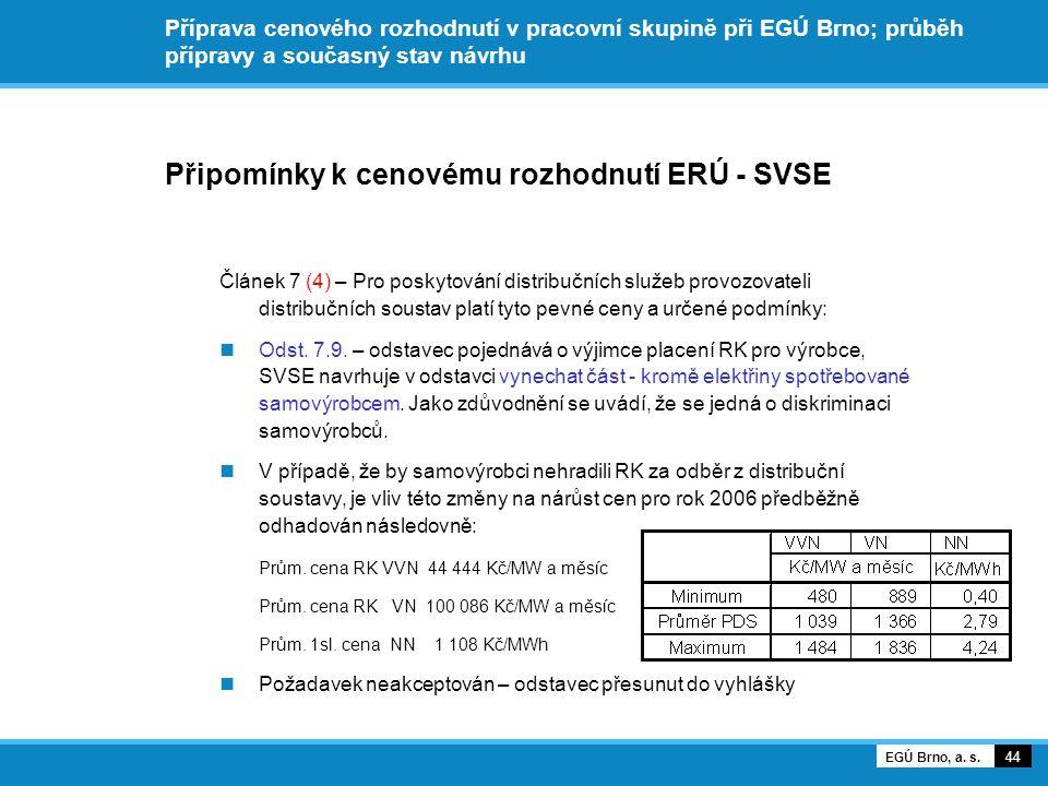Příprava cenového rozhodnutí v pracovní skupině při EGÚ Brno; průběh přípravy a současný stav návrhu Připomínky k cenovému rozhodnutí ERÚ - SVSE Článek 7 (4) – Pro poskytování distribučních služeb provozovateli distribučních soustav platí tyto pevné ceny a určené podmínky: Odst.