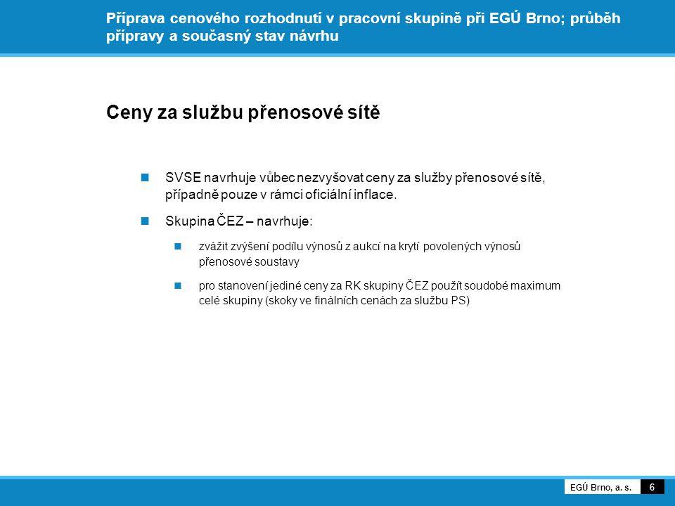 Příprava cenového rozhodnutí v pracovní skupině při EGÚ Brno; průběh přípravy a současný stav návrhu Ceny za službu přenosové sítě SVSE navrhuje vůbec nezvyšovat ceny za služby přenosové sítě, případně pouze v rámci oficiální inflace.