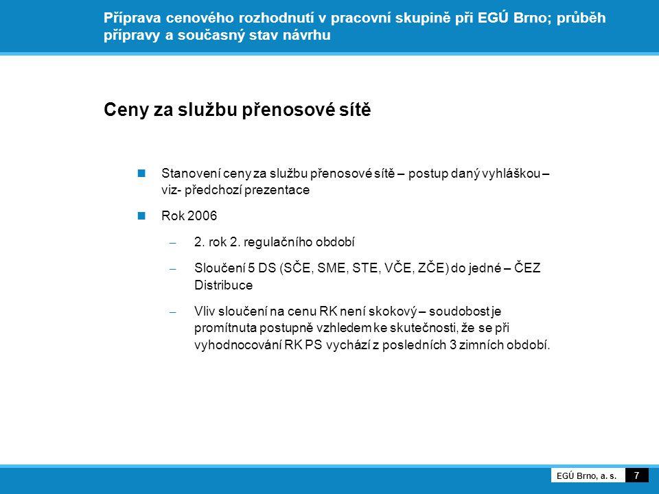 Příprava cenového rozhodnutí v pracovní skupině při EGÚ Brno; průběh přípravy a současný stav návrhu Ceny za službu přenosové sítě Stanovení ceny za službu přenosové sítě – postup daný vyhláškou – viz- předchozí prezentace Rok 2006 – 2.