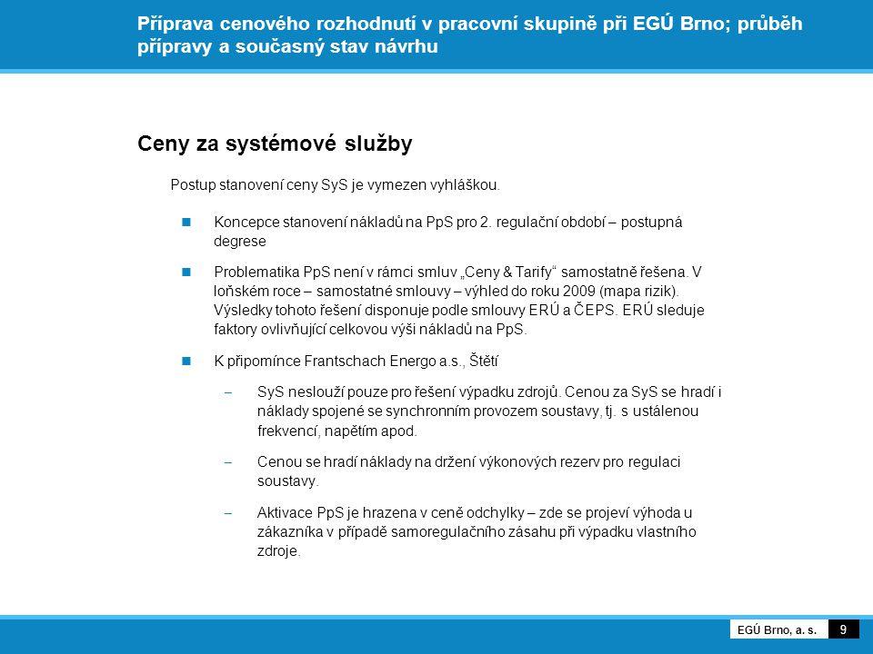 Příprava cenového rozhodnutí v pracovní skupině při EGÚ Brno; průběh přípravy a současný stav návrhu Ceny za systémové služby Postup stanovení ceny SyS je vymezen vyhláškou.