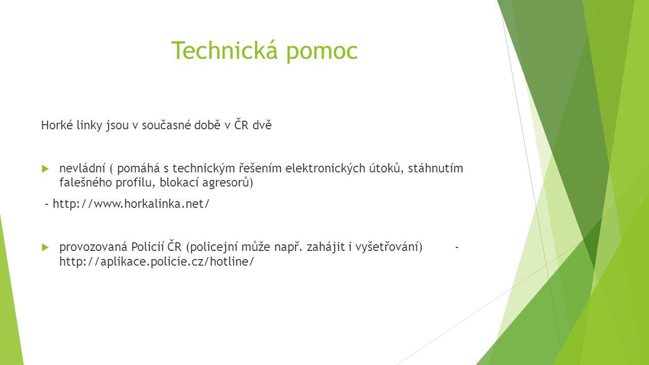 Technická pomoc Horké linky jsou v současné době v ČR dvě  nevládní ( pomáhá s technickým řešením elektronických útoků, stáhnutím falešného profilu,
