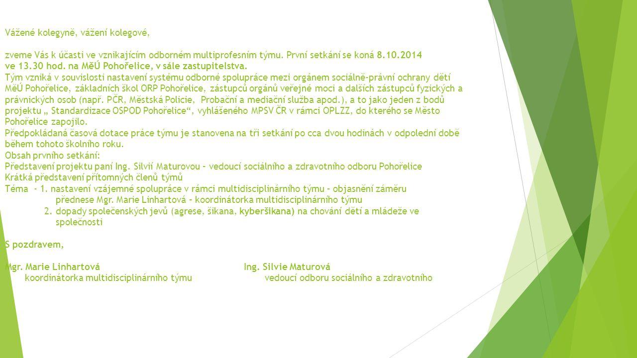 Vážené kolegyně, vážení kolegové, zveme Vás k účasti ve vznikajícím odborném multiprofesním týmu. První setkání se koná 8.10.2014 ve 13.30 hod. na MěÚ