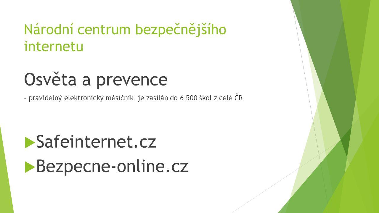 Národní centrum bezpečnějšího internetu Osvěta a prevence – pravidelný elektronický měsíčník je zasílán do 6 500 škol z celé ČR  Safeinternet.cz  Be