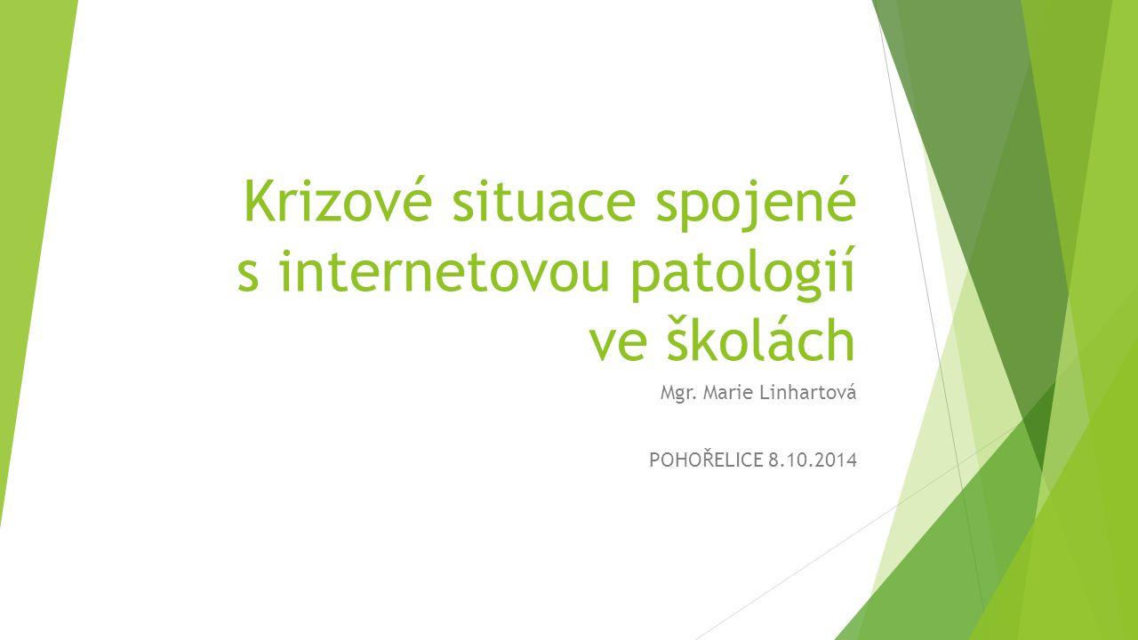 Krizové situace spojené s internetovou patologií ve školách Mgr. Marie Linhartová POHOŘELICE 8.10.2014