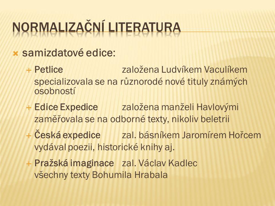  samizdatové edice:  Petlicezaložena Ludvíkem Vaculíkem specializovala se na různorodé nové tituly známých osobností  Edice Expedicezaložena manželi Havlovými zaměřovala se na odborné texty, nikoliv beletrii  Česká expedicezal.