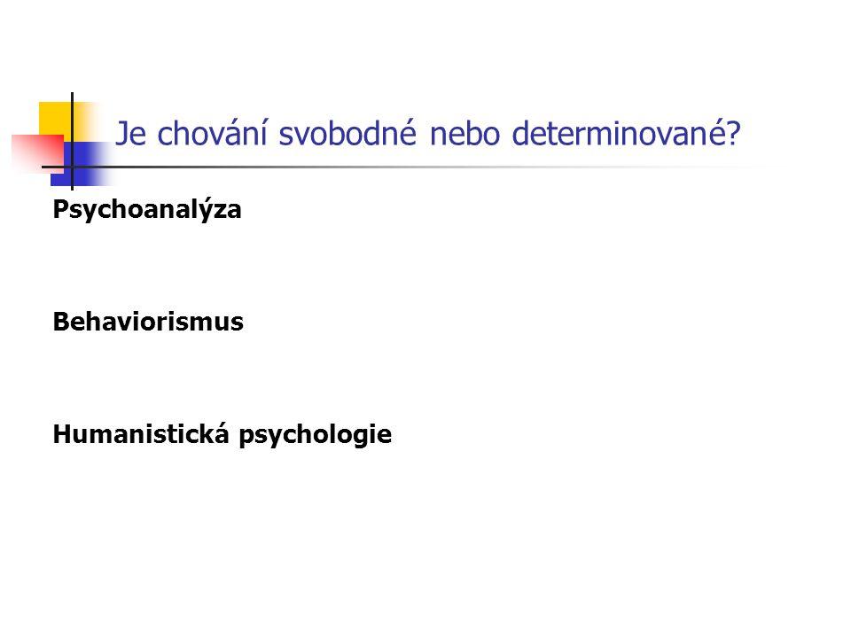 Je chování svobodné nebo determinované? Psychoanalýza Behaviorismus Humanistická psychologie