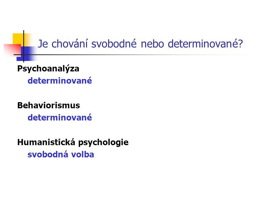 Je chování svobodné nebo determinované? Psychoanalýza determinované Behaviorismus determinované Humanistická psychologie svobodná volba