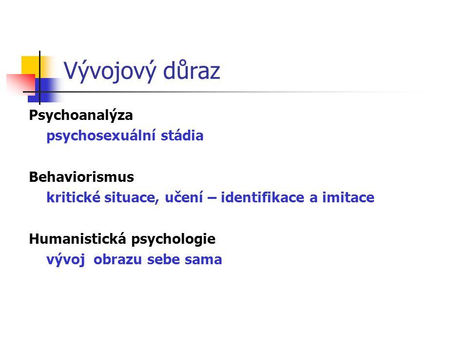 Vývojový důraz Psychoanalýza psychosexuální stádia Behaviorismus kritické situace, učení – identifikace a imitace Humanistická psychologie vývoj obrazu sebe sama