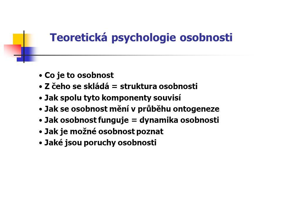 Teoretická psychologie osobnosti Co je to osobnost Z čeho se skládá = struktura osobnosti Jak spolu tyto komponenty souvisí Jak se osobnost mění v průběhu ontogeneze Jak osobnost funguje = dynamika osobnosti Jak je možné osobnost poznat Jaké jsou poruchy osobnosti
