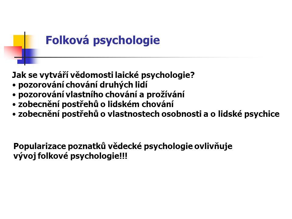 Folková psychologie Jak se vytváří vědomosti laické psychologie? pozorování chování druhých lidí pozorování vlastního chování a prožívání zobecnění po