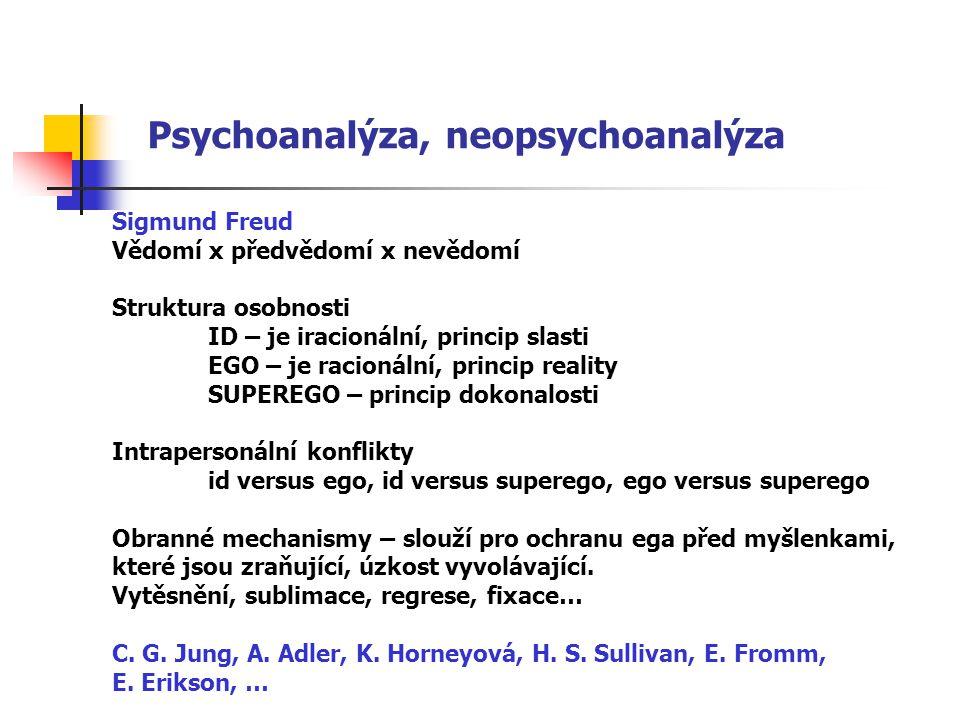 Psychoanalýza, neopsychoanalýza Sigmund Freud Vědomí x předvědomí x nevědomí Struktura osobnosti ID – je iracionální, princip slasti EGO – je racionální, princip reality SUPEREGO – princip dokonalosti Intrapersonální konflikty id versus ego, id versus superego, ego versus superego Obranné mechanismy – slouží pro ochranu ega před myšlenkami, které jsou zraňující, úzkost vyvolávající.