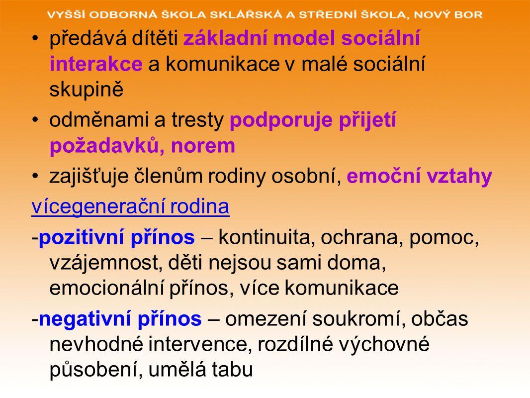 Funkce rodiny a) biologicko reprodukční b) socializačně výchovná c) ekonomická d) emocionální