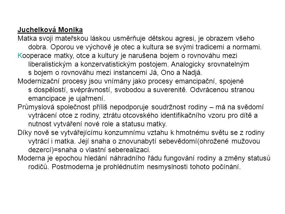 Juchelková Monika Matka svoji mateřskou láskou usměrňuje dětskou agresi, je obrazem všeho dobra.