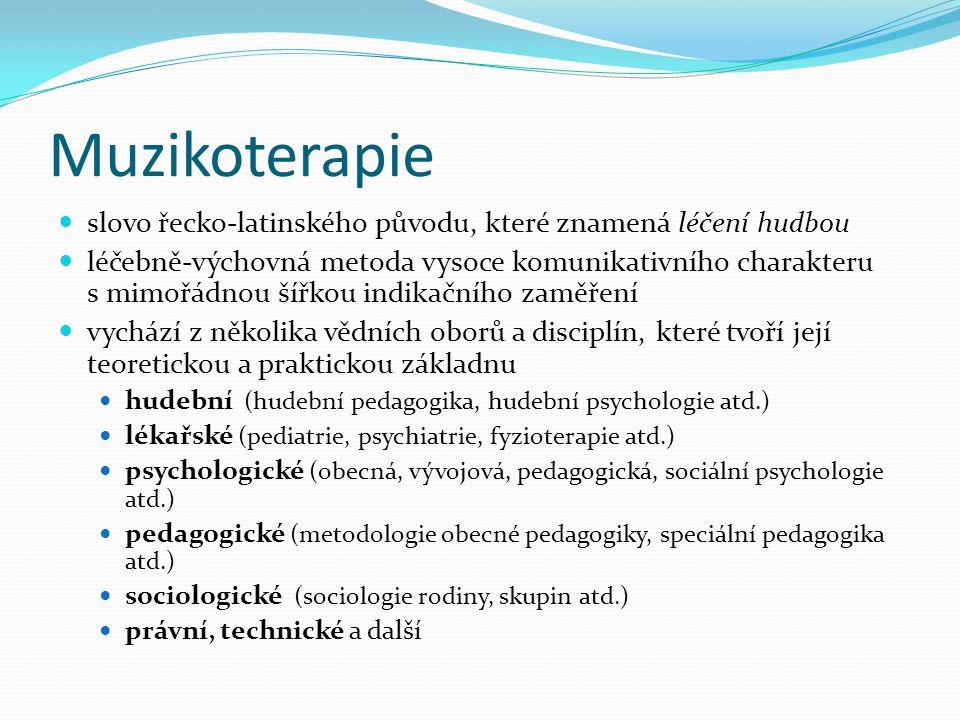 Muzikoterapie slovo řecko-latinského původu, které znamená léčení hudbou léčebně-výchovná metoda vysoce komunikativního charakteru s mimořádnou šířkou