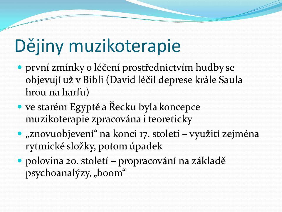 Dějiny muzikoterapie první zmínky o léčení prostřednictvím hudby se objevují už v Bibli (David léčil deprese krále Saula hrou na harfu) ve starém Egyp