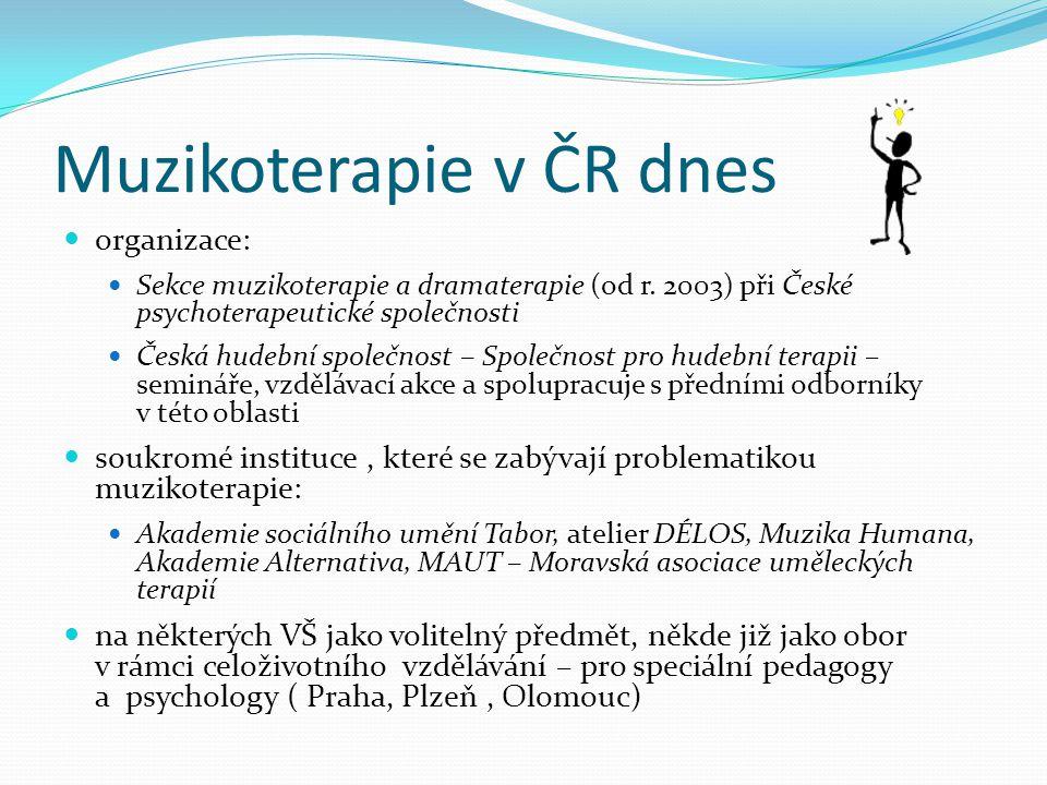 Muzikoterapie v ČR dnes organizace: Sekce muzikoterapie a dramaterapie (od r. 2003) při České psychoterapeutické společnosti Česká hudební společnost