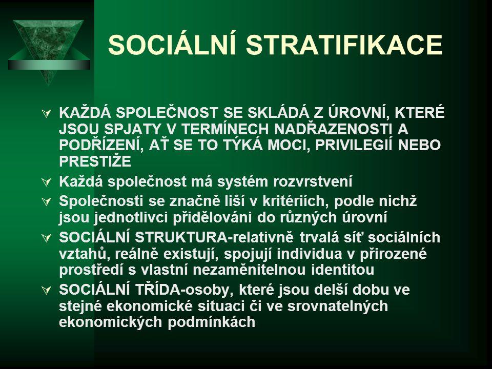 SOCIÁLNÍ STRATIFIKACE  KAŽDÁ SPOLEČNOST SE SKLÁDÁ Z ÚROVNÍ, KTERÉ JSOU SPJATY V TERMÍNECH NADŘAZENOSTI A PODŘÍZENÍ, AŤ SE TO TÝKÁ MOCI, PRIVILEGIÍ NE