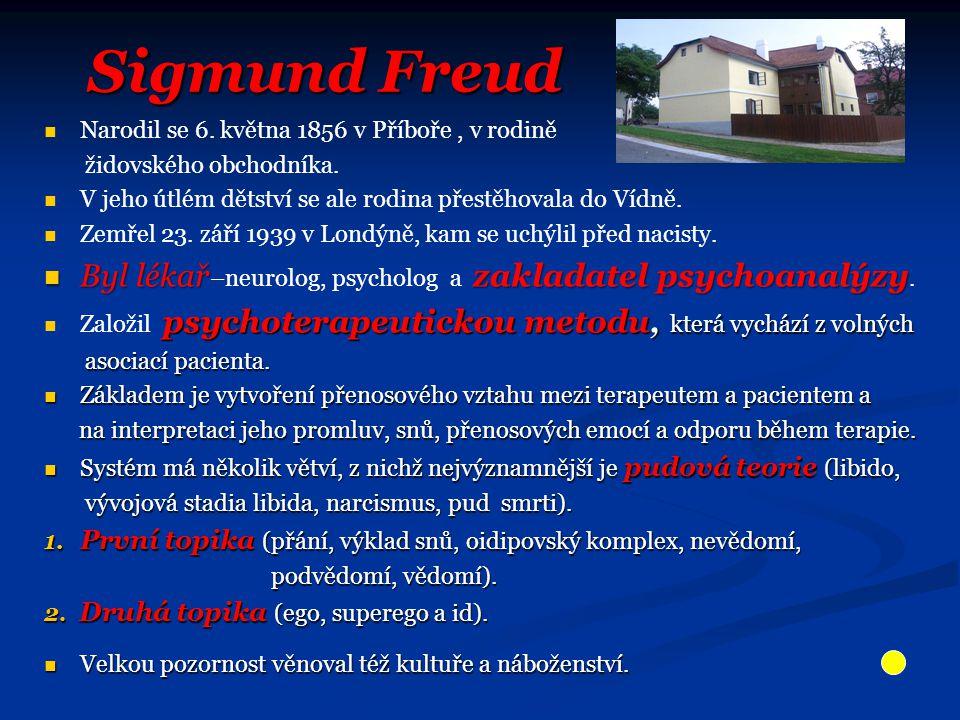 Sigmund Freud Sigmund Freud Narodil se 6. května 1856 v Příboře, v rodině židovského obchodníka.