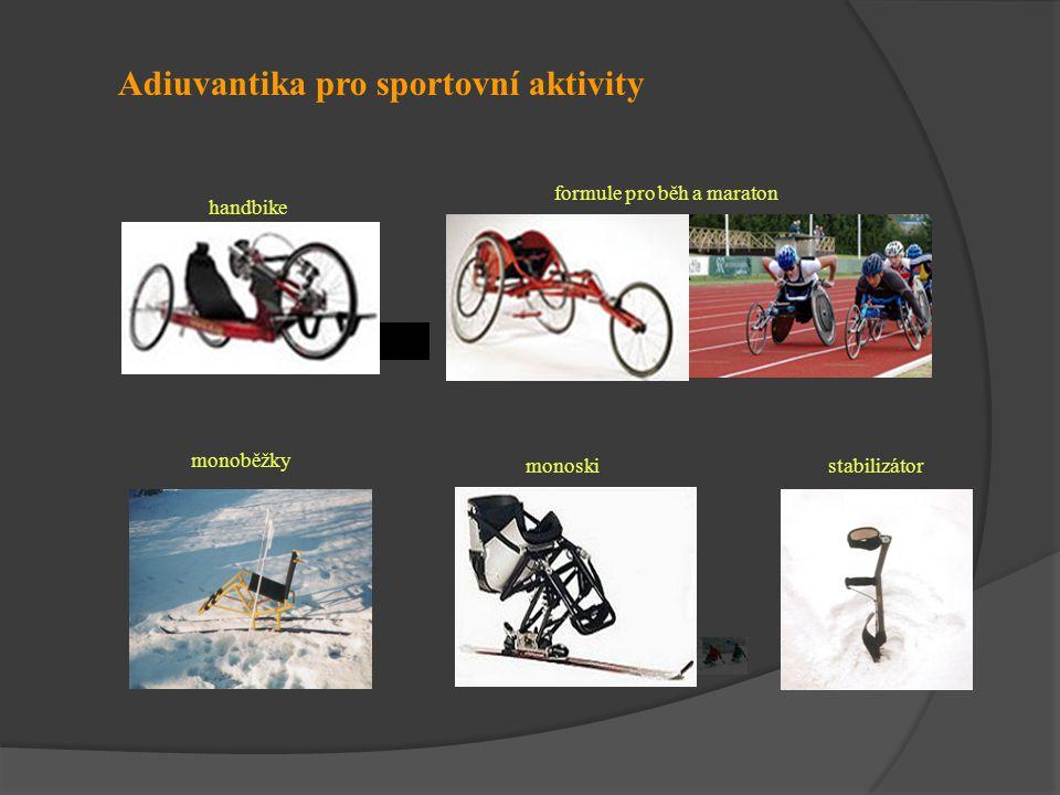 Adiuvantika pro sportovní aktivity handbike formule pro běh a maraton monoběžky monoski stabilizátor