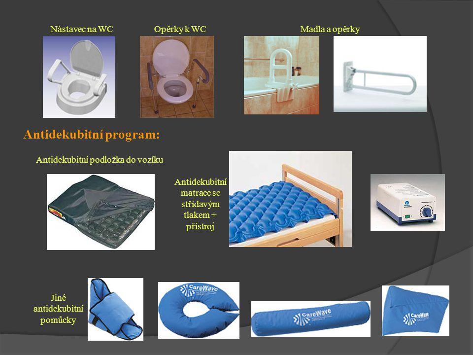 Antidekubitní program: Antidekubitní matrace se střídavým tlakem + přístroj Antidekubitní podložka do vozíku Jiné antidekubitní pomůcky Nástavec na WC