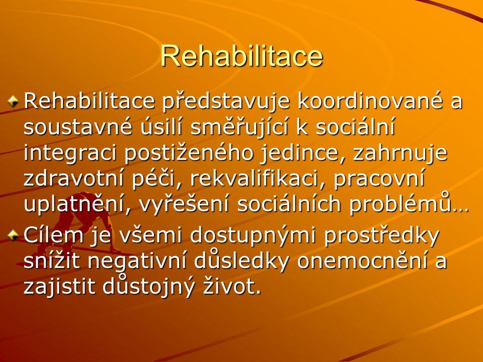 Rehabilitace Rehabilitace představuje koordinované a soustavné úsilí směřující k sociální integraci postiženého jedince, zahrnuje zdravotní péči, rekv