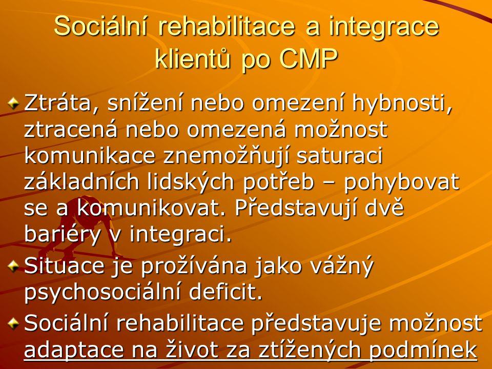 Sociální rehabilitace a integrace klientů po CMP Ztráta, snížení nebo omezení hybnosti, ztracená nebo omezená možnost komunikace znemožňují saturaci z