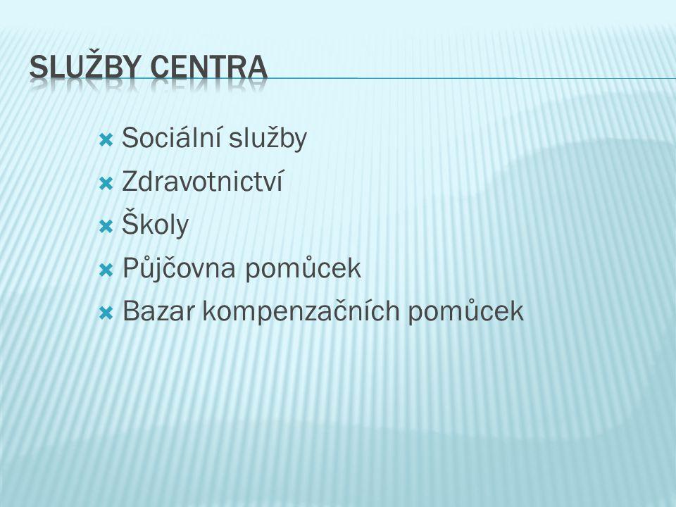  Sociální služby  Zdravotnictví  Školy  Půjčovna pomůcek  Bazar kompenzačních pomůcek