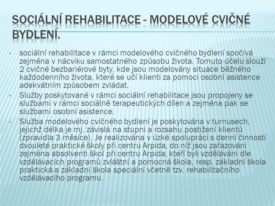 sociální rehabilitace v rámci modelového cvičného bydlení spočívá zejména v nácviku samostatného způsobu života.