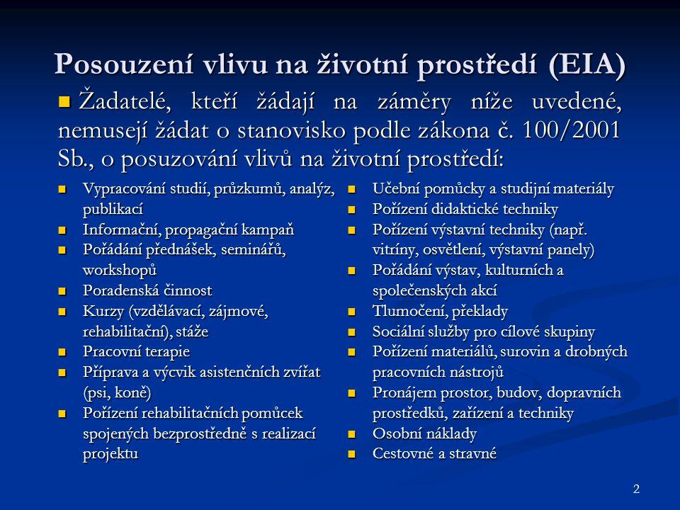 2 Posouzení vlivu na životní prostředí (EIA) Vypracování studií, průzkumů, analýz, publikací Vypracování studií, průzkumů, analýz, publikací Informačn