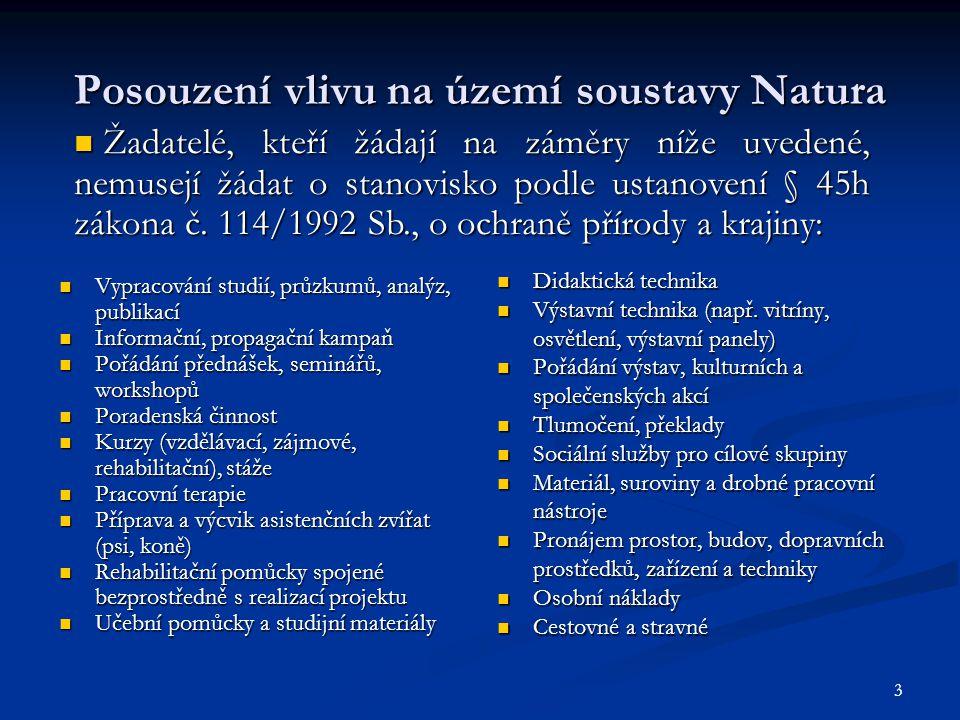 3 Posouzení vlivu na území soustavy Natura Vypracování studií, průzkumů, analýz, publikací Vypracování studií, průzkumů, analýz, publikací Informační,