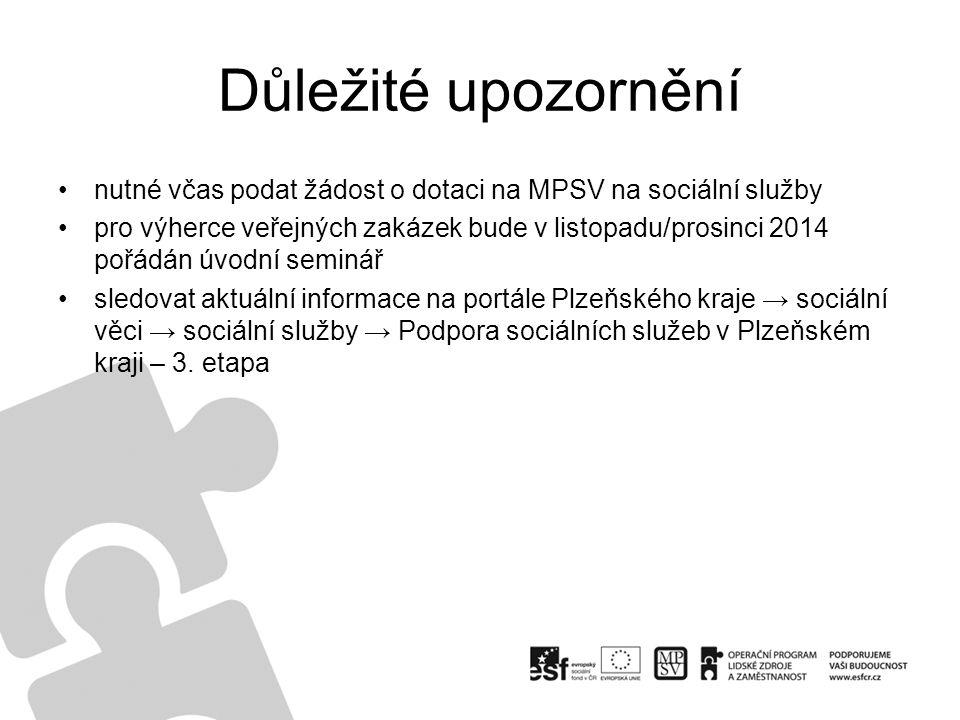 Důležité upozornění nutné včas podat žádost o dotaci na MPSV na sociální služby pro výherce veřejných zakázek bude v listopadu/prosinci 2014 pořádán ú