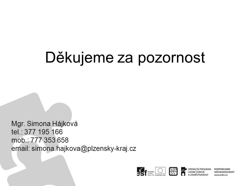 Mgr. Simona Hájková tel.: 377 195 166 mob.: 777 353 658 email: simona.hajkova@plzensky-kraj.cz Děkujeme za pozornost