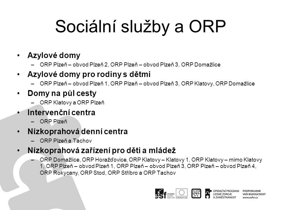 Sociální služby a ORP Azylové domy –ORP Plzeň – obvod Plzeň 2, ORP Plzeň – obvod Plzeň 3, ORP Domažlice Azylové domy pro rodiny s dětmi –ORP Plzeň – o