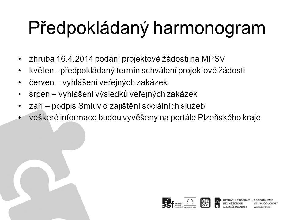 Předpokládaný harmonogram zhruba 16.4.2014 podání projektové žádosti na MPSV květen - předpokládaný termín schválení projektové žádosti červen – vyhlá