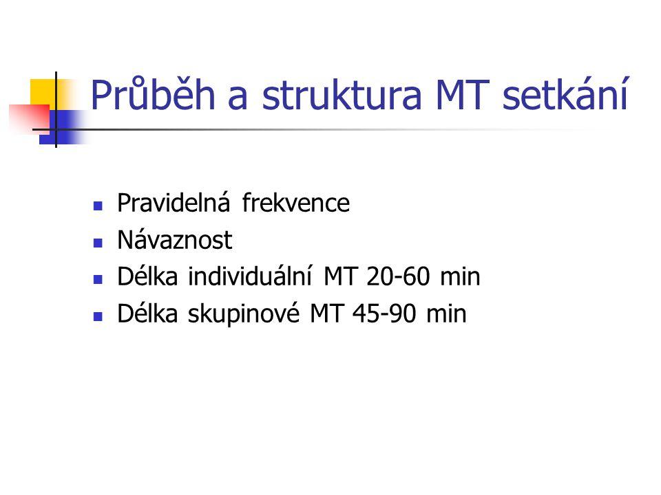 Průběh a struktura MT setkání Pravidelná frekvence Návaznost Délka individuální MT 20-60 min Délka skupinové MT 45-90 min