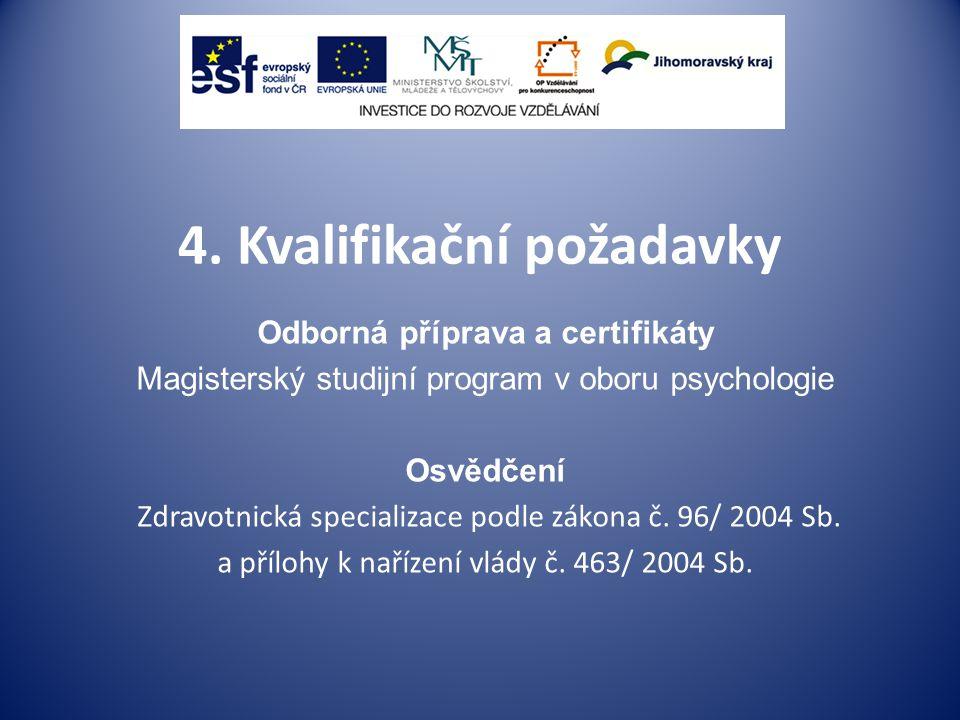 4. Kvalifikační požadavky Odborná příprava a certifikáty Magisterský studijní program v oboru psychologie Osvědčení Zdravotnická specializace podle zá