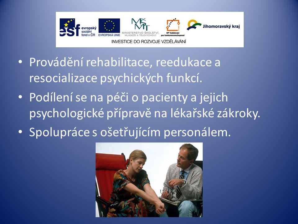 Provádění rehabilitace, reedukace a resocializace psychických funkcí.
