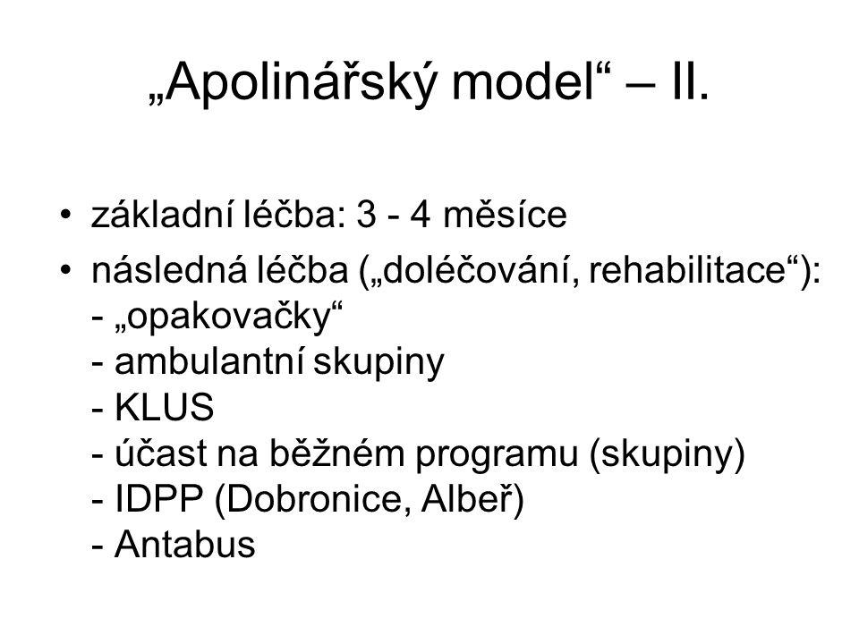 """""""Apolinářský model"""" – II. základní léčba: 3 - 4 měsíce následná léčba (""""doléčování, rehabilitace""""): - """"opakovačky"""" - ambulantní skupiny - KLUS - účast"""