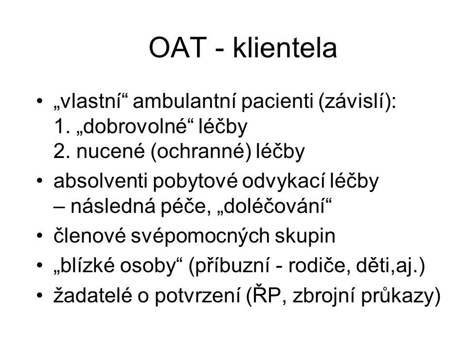 """OAT - klientela """"vlastní"""" ambulantní pacienti (závislí): 1. """"dobrovolné"""" léčby 2. nucené (ochranné) léčby absolventi pobytové odvykací léčby – následn"""