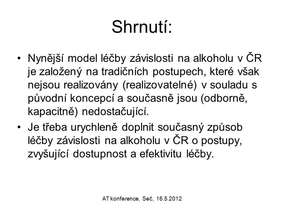 Shrnutí: Nynější model léčby závislosti na alkoholu v ČR je založený na tradičních postupech, které však nejsou realizovány (realizovatelné) v souladu