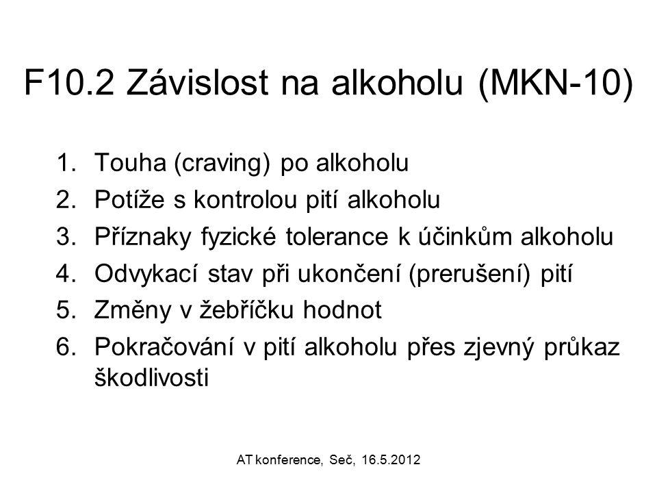 F10.2 Závislost na alkoholu (MKN-10) 1.Touha (craving) po alkoholu 2.Potíže s kontrolou pití alkoholu 3.Příznaky fyzické tolerance k účinkům alkoholu