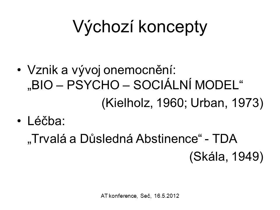 """Výchozí koncepty Vznik a vývoj onemocnění: """"BIO – PSYCHO – SOCIÁLNÍ MODEL"""" (Kielholz, 1960; Urban, 1973) Léčba: """"Trvalá a Důsledná Abstinence"""" - TDA ("""