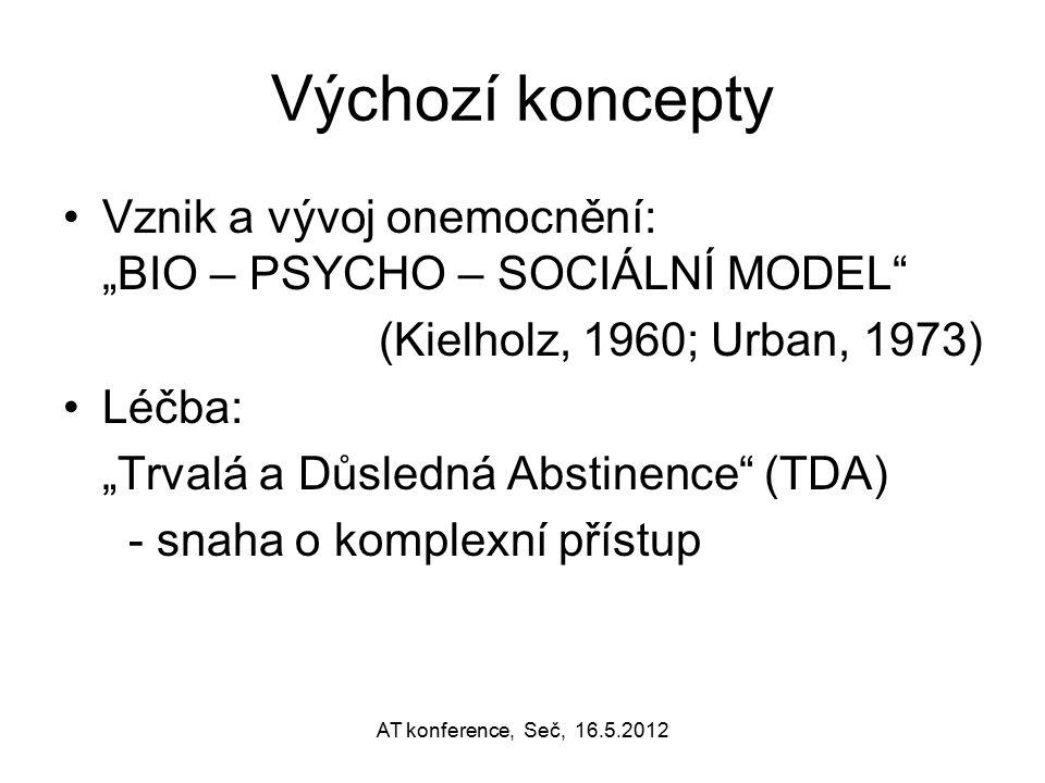 """Výchozí koncepty Vznik a vývoj onemocnění: """"BIO – PSYCHO – SOCIÁLNÍ MODEL"""" (Kielholz, 1960; Urban, 1973) Léčba: """"Trvalá a Důsledná Abstinence"""" (TDA) -"""