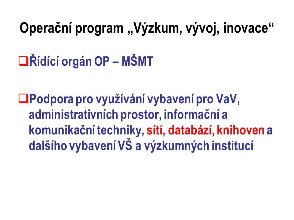 """Operační program """"Výzkum, vývoj, inovace  Řídící orgán OP – MŠMT  Podpora pro využívání vybavení pro VaV, administrativních prostor, informační a komunikační techniky, sítí, databází, knihoven a dalšího vybavení VŠ a výzkumných institucí"""
