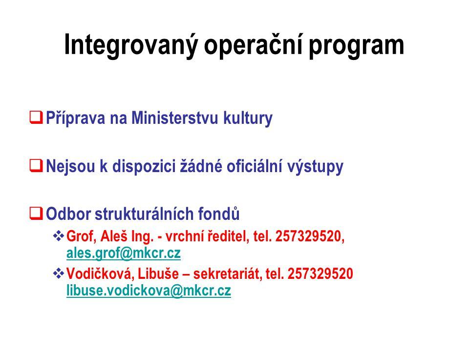 Integrovaný operační program  Příprava na Ministerstvu kultury  Nejsou k dispozici žádné oficiální výstupy  Odbor strukturálních fondů  Grof, Aleš Ing.