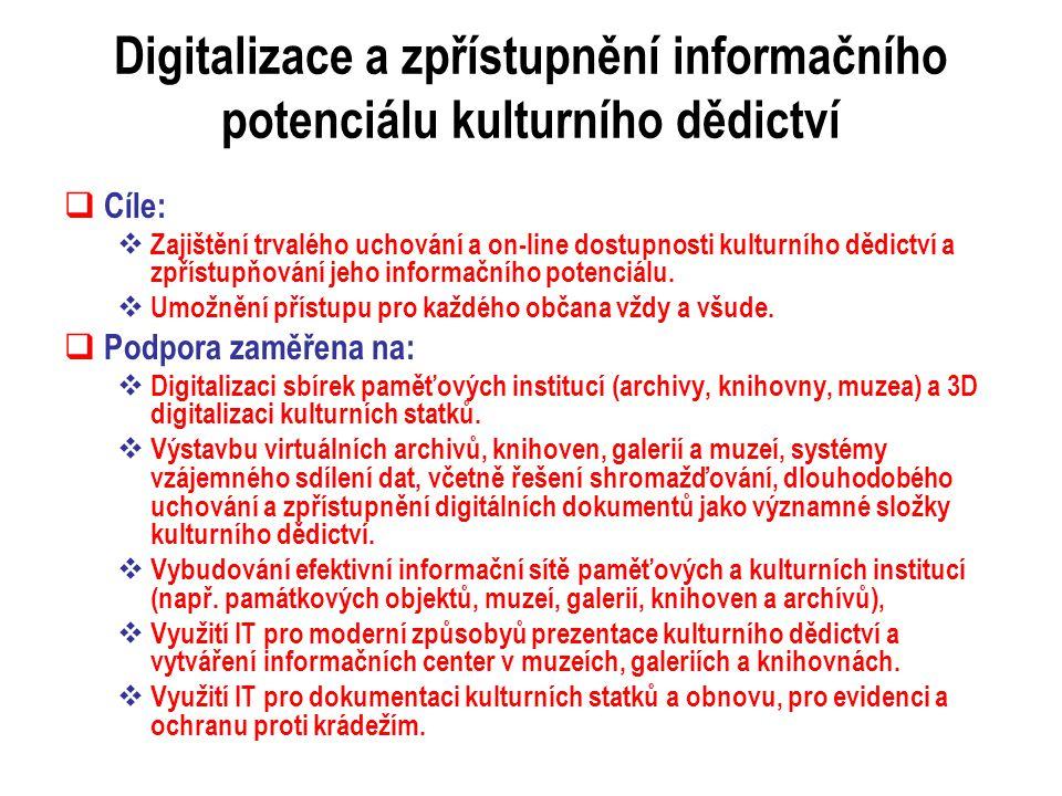 Digitalizace a zpřístupnění informačního potenciálu kulturního dědictví  Cíle:  Zajištění trvalého uchování a on-line dostupnosti kulturního dědictví a zpřístupňování jeho informačního potenciálu.