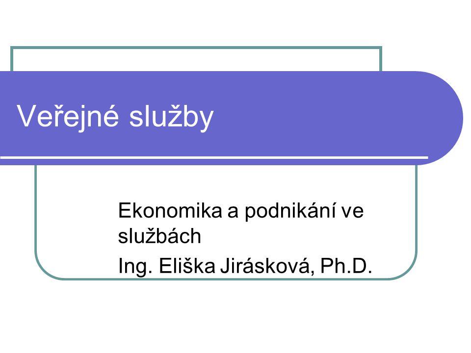 Veřejné služby Ekonomika a podnikání ve službách Ing. Eliška Jirásková, Ph.D.
