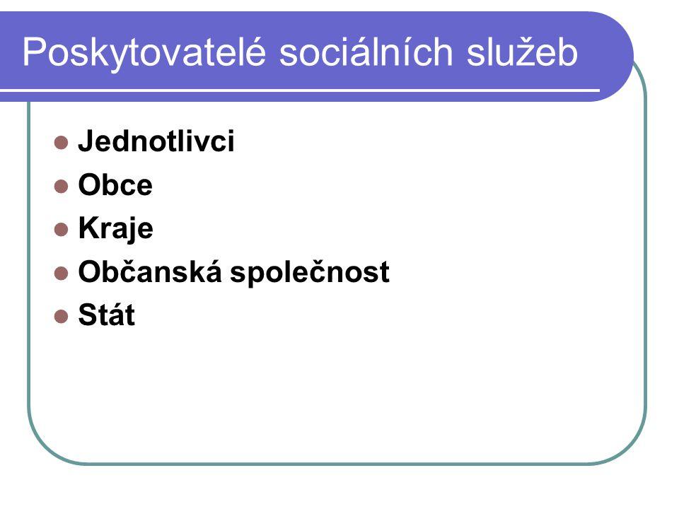 Poskytovatelé sociálních služeb Jednotlivci Obce Kraje Občanská společnost Stát