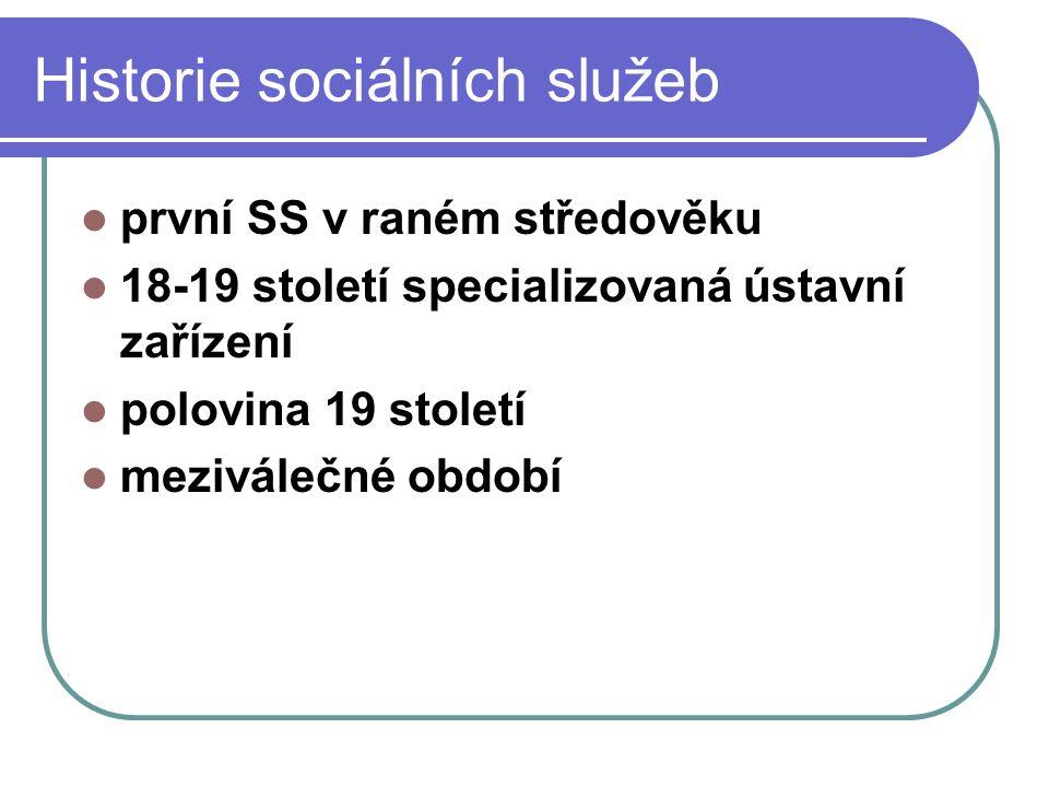 Historie sociálních služeb první SS v raném středověku 18-19 století specializovaná ústavní zařízení polovina 19 století meziválečné období