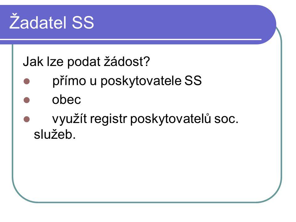 Žadatel SS Jak lze podat žádost? přímo u poskytovatele SS obec využít registr poskytovatelů soc. služeb.